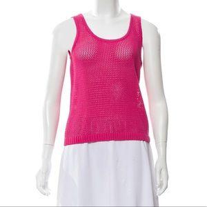 St. John Wool Blend Pink Open Knit Scoop Neck Top